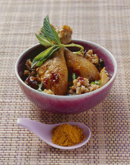 Curried Chicken Drumsticks with Fruit
