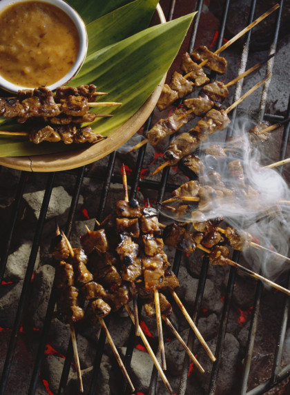 Spicy Beef Skewers with Peanut Sauce