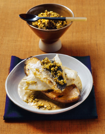 Sweet Potato topped with Sea Bass Fillets