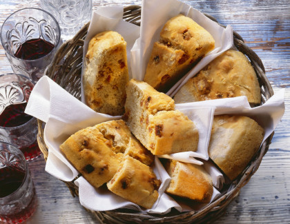 Portuguese bread filled with sausage cubes
