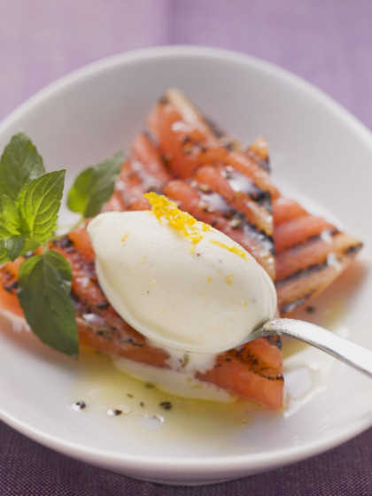 Charred Watermelon with Orange and Sour Cream Ice Cream