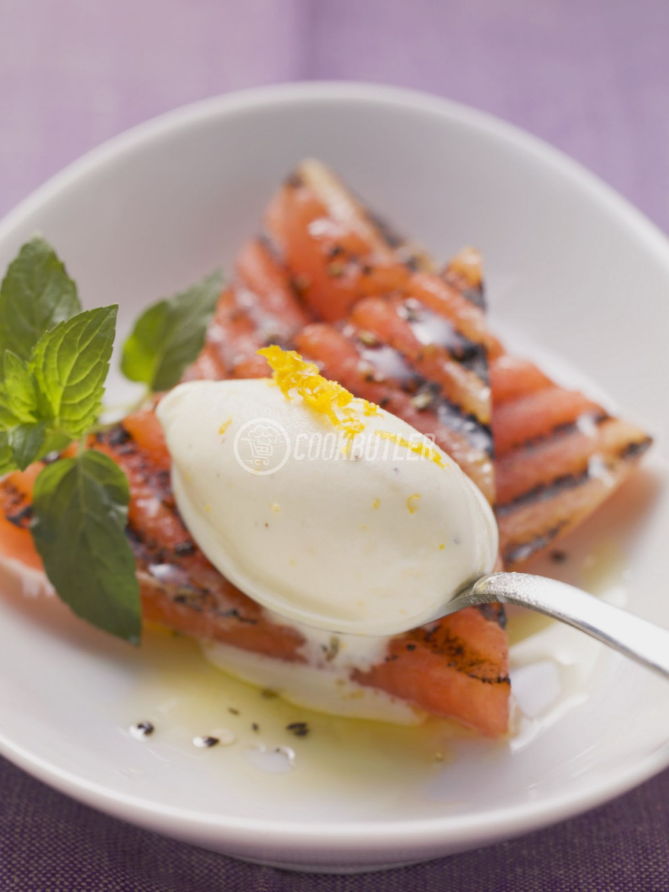Charred Watermelon with Orange and Sour Cream Ice Cream | preview