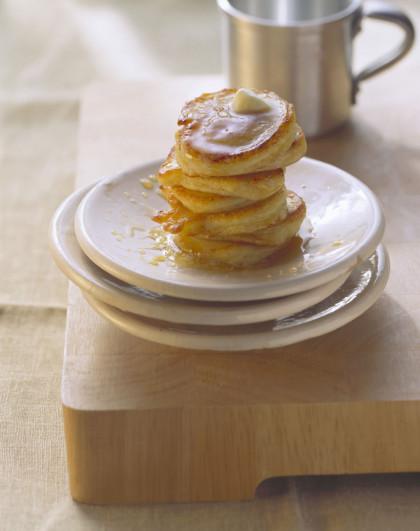Potato pancakes with maple syrup