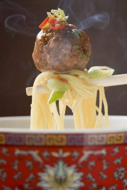 Stir-fried Meatballs and Noodles