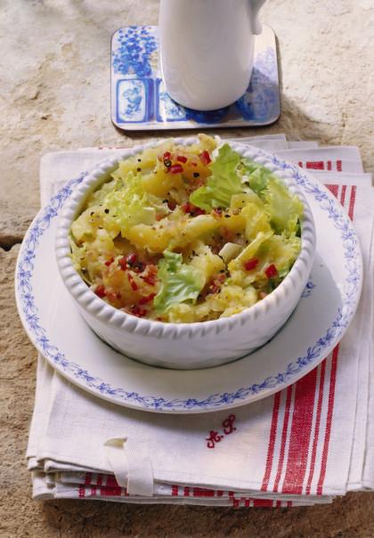 Chicory, bacon, and potato dish