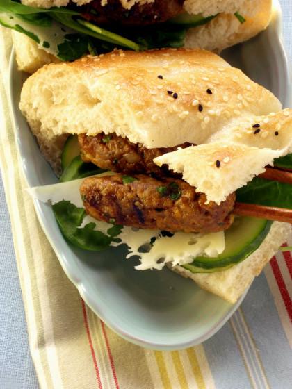 Lamb Kofta, Swiss, and Cucumber Sandwiches