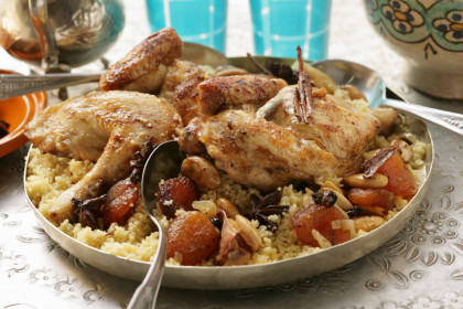 Roast Chicken with Couscous, Apricots, and Currants