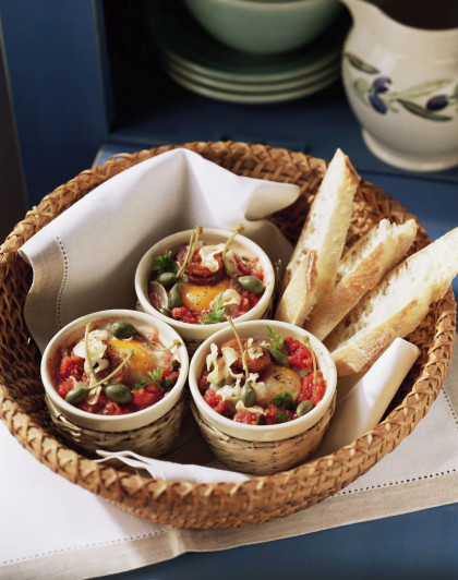 Individual egg and caper bakes