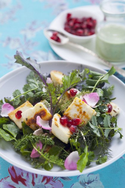 Indian salad with soft cheese