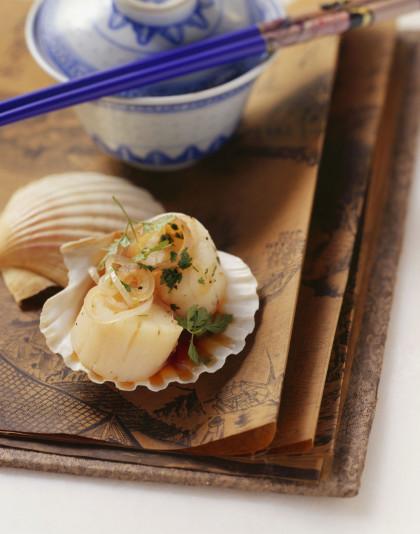 Healthy asian seafood shells